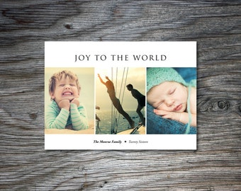 Christmas Photo Collage, Digital Photo Card, Christmas Card, Holiday Card, Joy to the World, One Photo, Two Photos, Three Photos, Horizontal