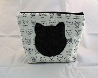 Cute cat zipped pouch bag