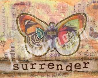Surrender, Spiritual gift, Wood wall art, Inspirational quote, Oprah inspired, Mixed Media, Butterfly art, Jackie Barragan, Courage and Art