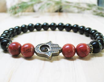 Hamsa Bracelet Black Onyx Bracelet Red Jasper Bracelet Energy Bracelet Spiritual Bracelet Good Luck Bracelet Mens Bracelet Root Chakra