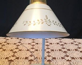 Vintage Gooseneck Lamp / Vintage Keystone Lamp / White Gooseneck Lamp