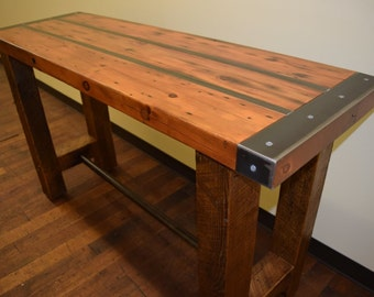 "Reclaimed wood and steel Table 60"" H x 20"" W x 36"" H"