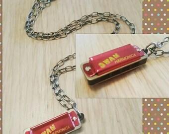 Vintage harmonica pendant necklace