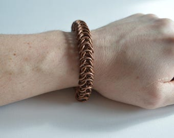 copper bracelet unique jewelry metal bracelet chainmaille jewelry copper gifts unisex bracelet  gift bracelet hand bracelet box braid
