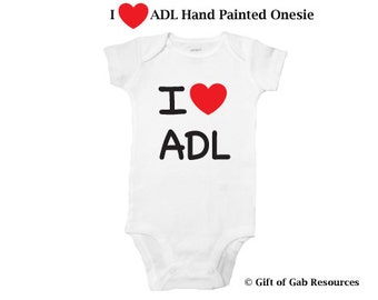 I heart ADL Hand Painted onesie, iheart, adls, ADLs, Therapist, OT, PT,  heart, teachers, nurses, doctors, special education