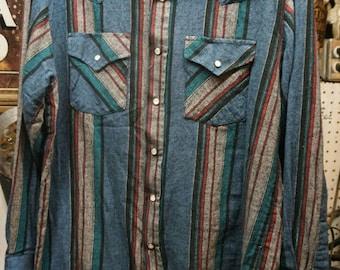 Mens Vintage Plains Western Wear Button Up