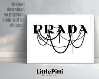 Prada print, prada logo, prada, prada wall art, bedroom art, prada decor, prada poster, gossip girl art, prada marfa, digital prada sign