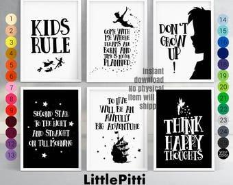 Peter Pan nursery, disney nursery decor, neverland nursery, disney quotes, peter pan quotes, peter pan print, neverland printable, set of 6