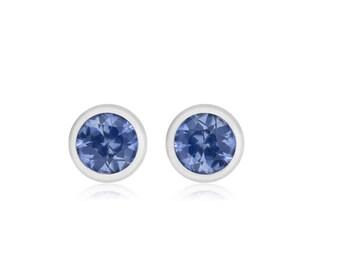 "A stunning Genuine Single (1) Blue Sapphire Bezel Stud Earrings width 0.10"" White Gold Plated An ideal gift"