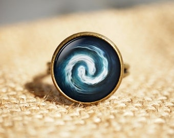 Avatar the Last Airbender Ring, Air Nomad Ring, Glass Cabochon Round Dome Ring, Movie Jewelry