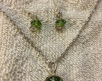 Wrapped Light Green Necklace/Earring Combo