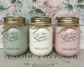 Set of 3 Shabby Chic Eerin Mason Jars with Lids ~ Vintage Green, Pink