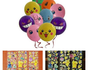 20 pieces - Pokemon Balloons and Sticker package!