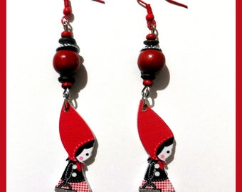 Earrings wooden Red Riding Hood