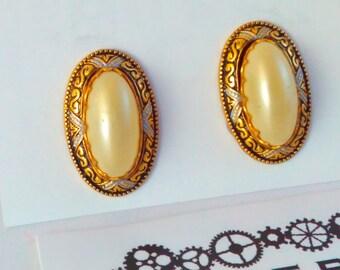 2.1cm Vintage Damascene, Toledo, pearl earrings, vintage earrings, vintage Damascene earrings, Damascene pearl earrings, wedding earrings