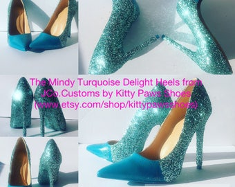 Women's Blue Turquoise Glittered Wedding Bridal Engagment Prom Pointy Heels Pumps from JCo.Customs by Kitty Paws Shoes