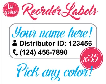 LipSense Reorder Labels in Clear or White Glitter, Qty: 35