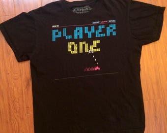 Space invaders black t shirt 90s vintage retro large