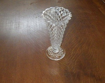 "Vintage Lead Crystal Diamond Cut 8"" Flare Top Vase"