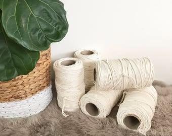 Macrame Cord 4mm x 1kg (approx 150m)  3 Ply (3 Strand) Twisted Natural Australian Cotton, Bulk Macrame Rope, DIY Macrame