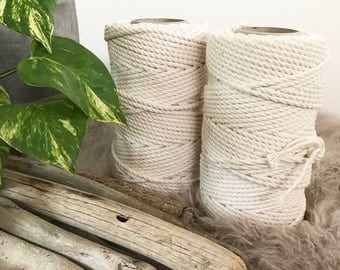 Macrame Cord 5mm x 110m (1kg) 3 Ply (3 Strand) Twisted Natural Cotton Macrame Rope