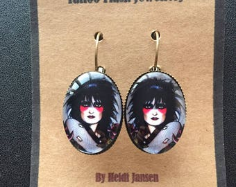Original tattoo design oval earrings Siouxsie
