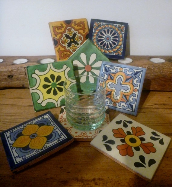 Stylish handmade mexican tile drinks coasters wall plaques for Handmade drink coasters
