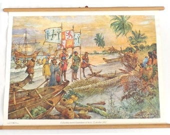 Pull down chart, Columbus, School chart. Columbus takes possession of Guanahani 12th of October 1492 San Salvador, Columbus day.#64AG1388K2B