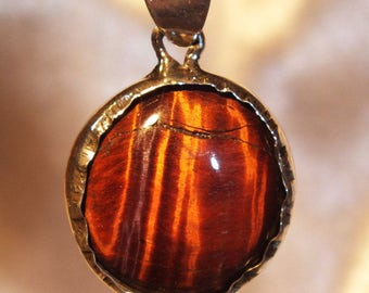 Red TIGER EYE silver sterling jewels pendant HOMEMADE