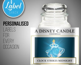 Personalised Cinderella Disney candle label - great birthday gifts/presents - other characters are available!