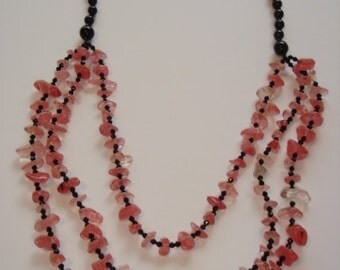 Cherry Quarta and Black Onyx 3 Strand Necklace