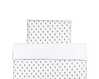 Monochrome Baby Bedding / Black And White Crib Bedding Set / Lighting Bolts Duvet / Monochrome Nursery / Baby Duvet Cover / Baby Pillowcase