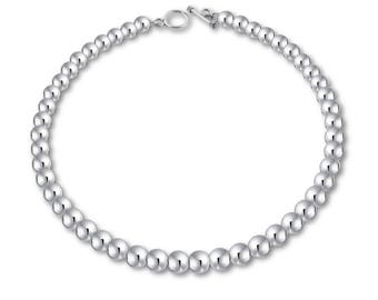 Sterling Silver Beads Necklace, Silver Bead Necklace, Statement Necklace, Classic Necklace, Heirloom Necklace, available in 8mm, 10mm 12mm.
