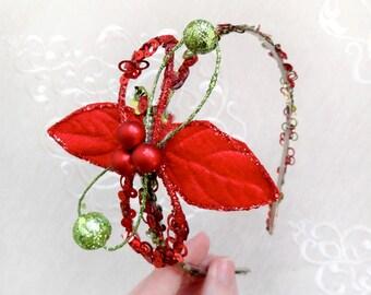 christmas headband women, adult christmas headband, red and green hair band, christmas hair accessories, poinsettia headband, cocktail hair