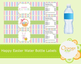 Happy Easter Water Bottle Wraps, Easter Bunny, Happy Easter Water Bottle Labels, Waterproof Labels, Easter Basket, Happy Easter Party Decor