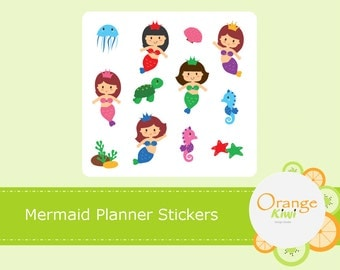 Mermaid Planner Stickers, Erin Condren Life Planner, Limelife, Plum Paper, Filofax