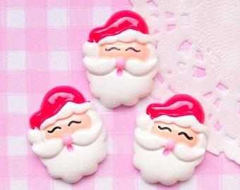 10% OFF SALE 5 x Cute Father Christmas Santa Cabochon Embellishment Kawaii Craft Decoden