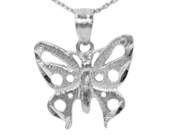 10k White Gold Butterfly Necklace