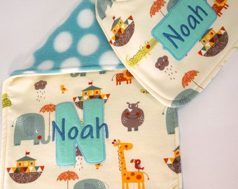 Bib and Burp Cloth personalized gift set - Noah's Arc, Monogrammed baby gift set, Bib and burp cloth, Baby bib, Baby shower gift