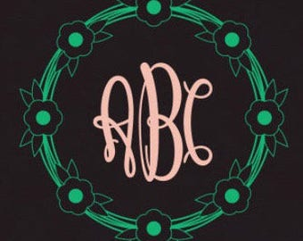 Monogram Decal w Floral Frame