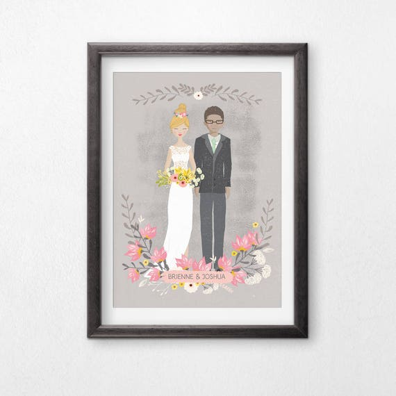 Printable, Custom Wedding Portrait, Illustrated Couple, Wedding Gift, Personalized Gift