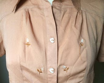 Adorable embroidered button up