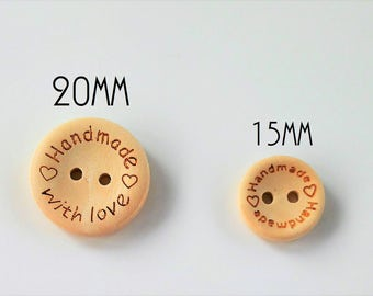 Botones de madera natural Handmade with love 15mm o 20mm - Natural wood buttons- Wooden buttons-Wooden labels and tags-Wooden supplies