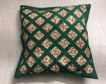 Green Trellis Strawberry Flowers Cushion Cover - 20""