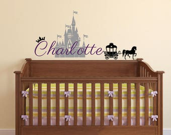 Princess Castle Wall Decal - Girl Name Decal - Removable Vinyl Decal Design