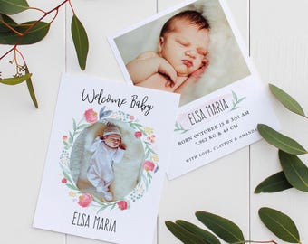 Pink Flowers Birth Announcement