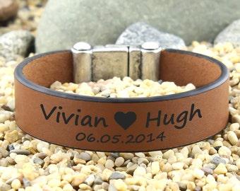 Personalized Name Bracelet, Customized Bracelet, Gift for Valentine, Anniversary Date Bracelet, Engraved Leather Bracelet, Men Cuff Bracelet