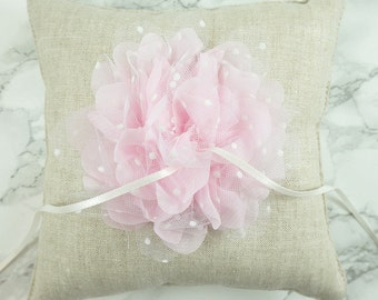 Wedding Ring Pillow / Ring Bearer Pillow / Linen Ring Pillow with Lt. Pink Chiffon Flower / Rustic Ring Pillow / Linen Ring Bearer Pillow