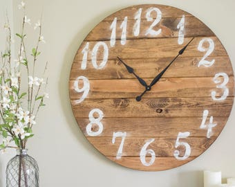 "30"" Large Wall Clock, Distressed Wall Clock, Painted Clock, Oversized Clock"
