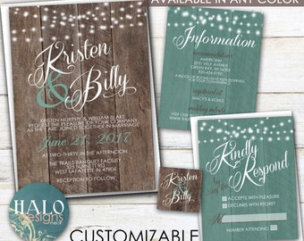 Rustic Wedding, Save The Date, Invitation Kit, Thank You Card, Printable, Postcard